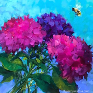 All Abuzz Pink Hydrangeas and Solo Bee by Nancy Medina