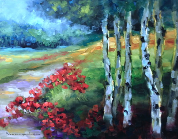 Aspen Lane Red Poppies by Nancy Medina