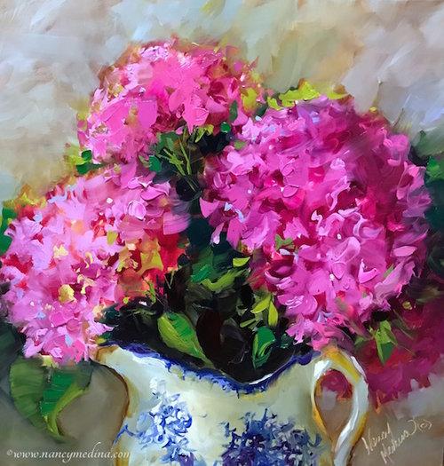 Banish the Blues Pink Hydrangeas by Nancy Medina