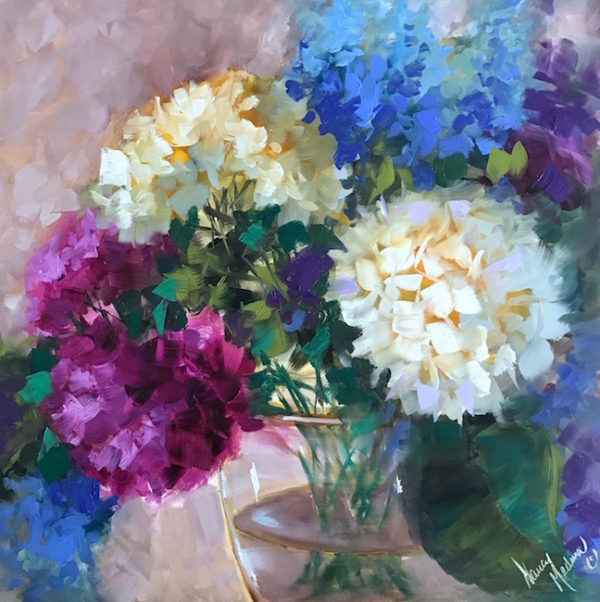 Blue Halo Hydrangea Bouquet by Nancy Medina