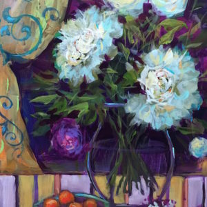 Butterfly Aperitif White Peonies by Nancy Medina