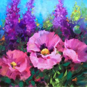 Butterfly Haven Pink Poppies by Nancy Medina