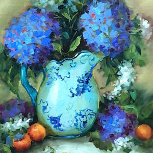 Carnations and Blue Hydrangeas by Nancy Medina