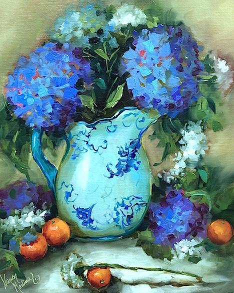 Carnations and Blue Hydrangeas by Nancy Medina