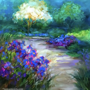 Cherry Blossoms and Irises by Nancy Medina