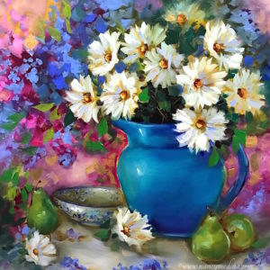 Daisies and Pears and Delphiniums, Oh My! by Nancy Medina