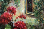 French Window Peeper Geraniums 12X12 sm
