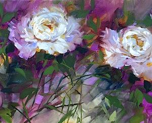 Garden Dancers White Peonies by Nancy Medina
