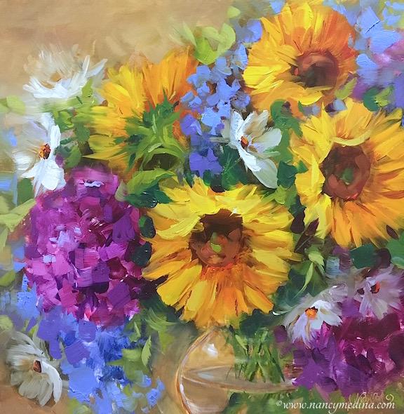 Into the Sky Sunflower Bouquet by Nancy Medina