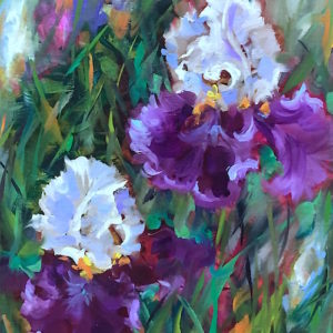It Takes Two - Purple Iris Garden by Nancy Medina