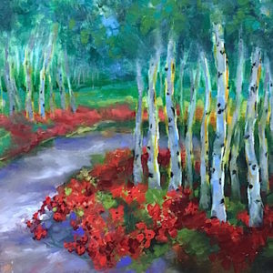 Journey to Spring Aspens and Poppies by Nancy Medina