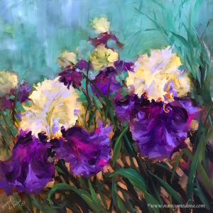 Jungle Love Purple Irises by Nancy Medina