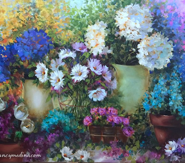 Love Spills Over Daisies and Hydrangeas by Nancy Medina