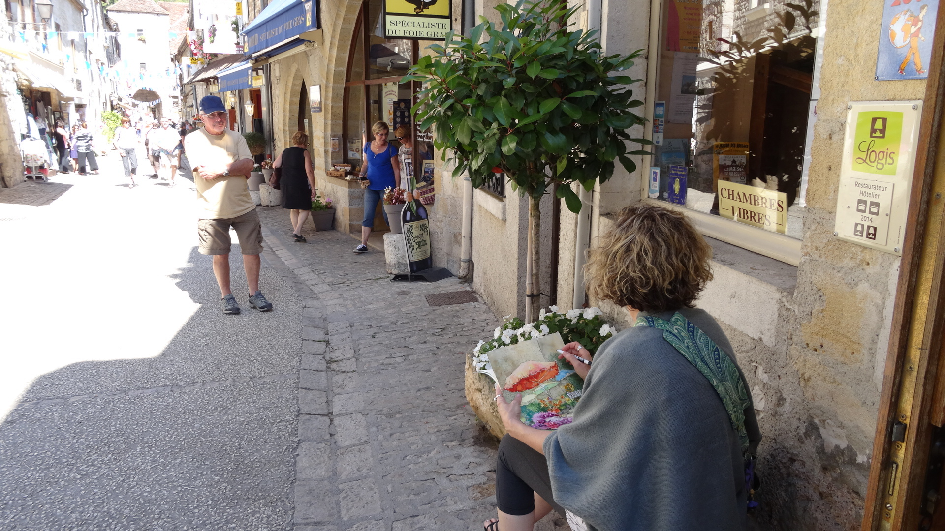 Painting in Rocamadour, Southern France