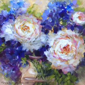Peonies and Delphs Adrift by Nancy Medina