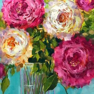 Pink Cascade Peonies by Nancy Medina