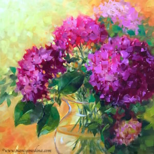 Pink Cloud Hydrangeas by Nancy Medina