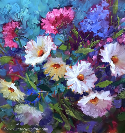 Pink Escape Daisies and Carnations by Nancy Medina