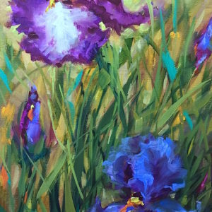 Purple Dancers Irises Nancy Medina Art
