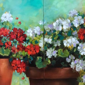 Remnants of Summer Geranium and Pansy Diptych by Nancy Medina
