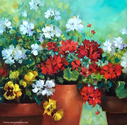 Remnants of Summer Geraniums and Pansies Part 1 by Nancy Medina