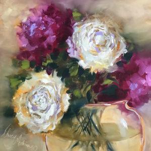 Ruby Halo Peonies by Nancy Medina