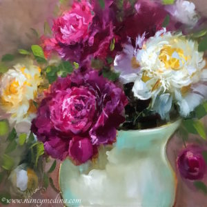 Ruby and White Peonies by Nancy Medina