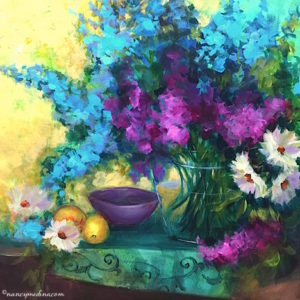 Sapphire Delphiniums and Daisies by Nancy Medina