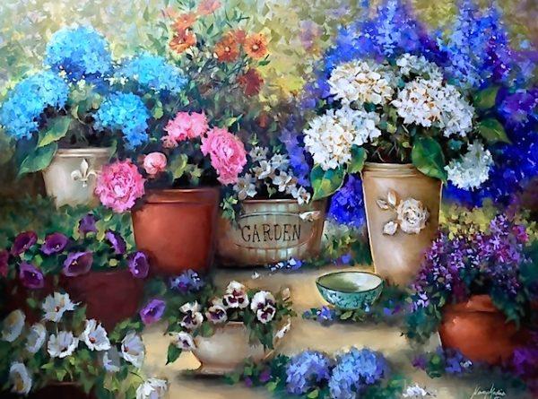 Spring Rain Peony and Hydrangea Garden by Nancy Medina
