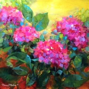Summertime Dreams Pink Hydrangeas by Nancy Medina