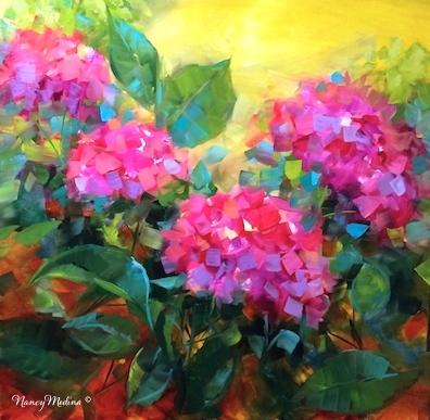 Summertime Dreams Pink Hydrangeas by Nancy Medina