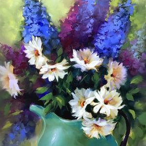 Take Flight Delphiniums and Daisies by Nancy Medina