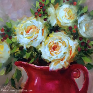 White Roses With Red by Nancy Medina
