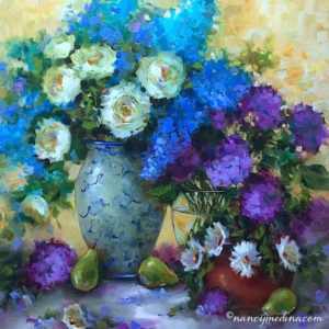 Wild Garden White Roses and Delphiniums by Nancy Medina