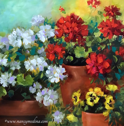 Winter Garden Geraniums and Pansies Part 2 by Nancy Medina