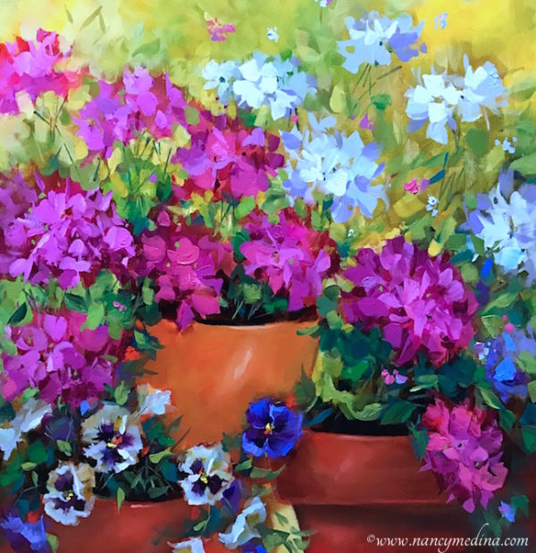 Winter Pink Geraniums and Pansies by Nancy Medina