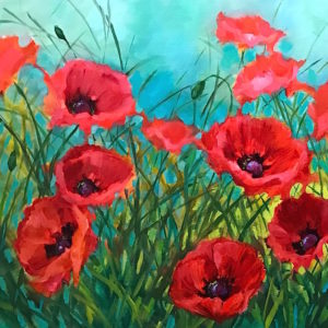 Winter Garden Poppies Nancy Medina Art