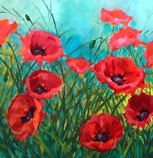Winter Garden Poppies Nancy Medina Art