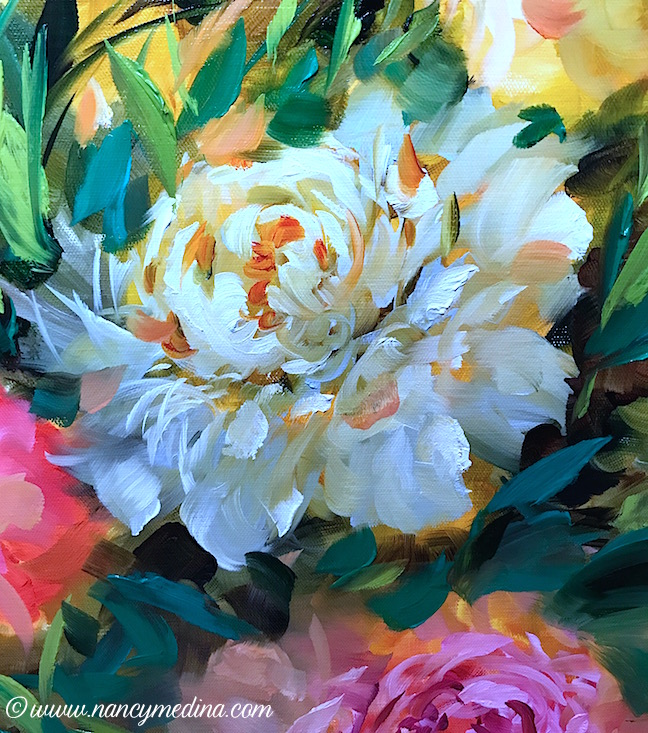 Peaches and Cream Peonies detail