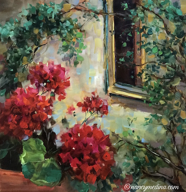 French Window Peeper Geraniums by Nancy Medina
