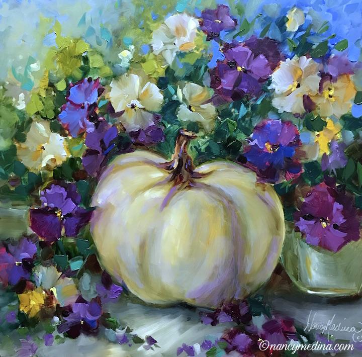 White Pumpkin and Fall Violas