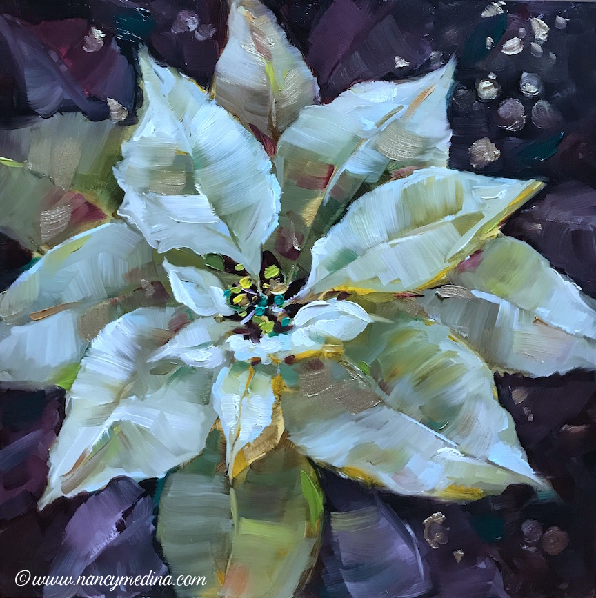 Frosted Light White Poinsettias