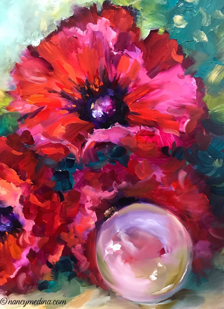 Red Christmas poppies detail