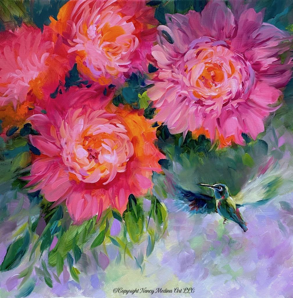 TJB perks live Light from below hummingbird and peonies