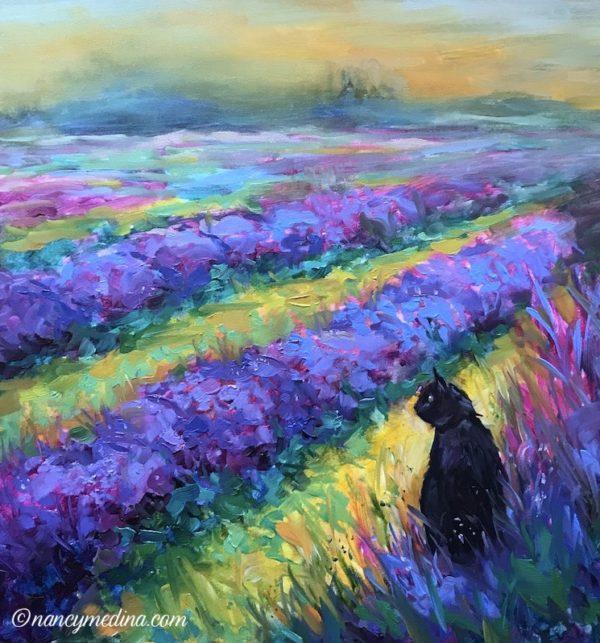 Awakening Cat in Lavender