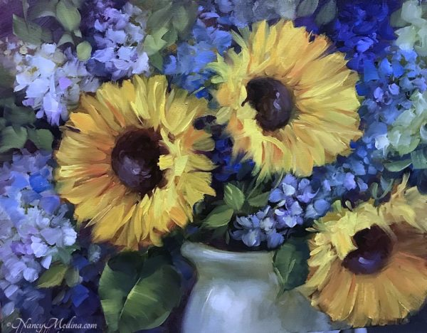 Three Sisters Sunflowers and Delphs