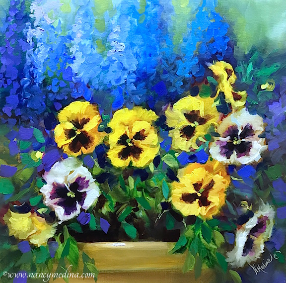 Pearly white and yellow pansies