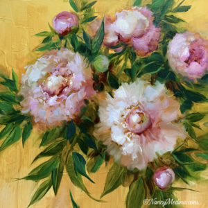Pink Peonies on Gold