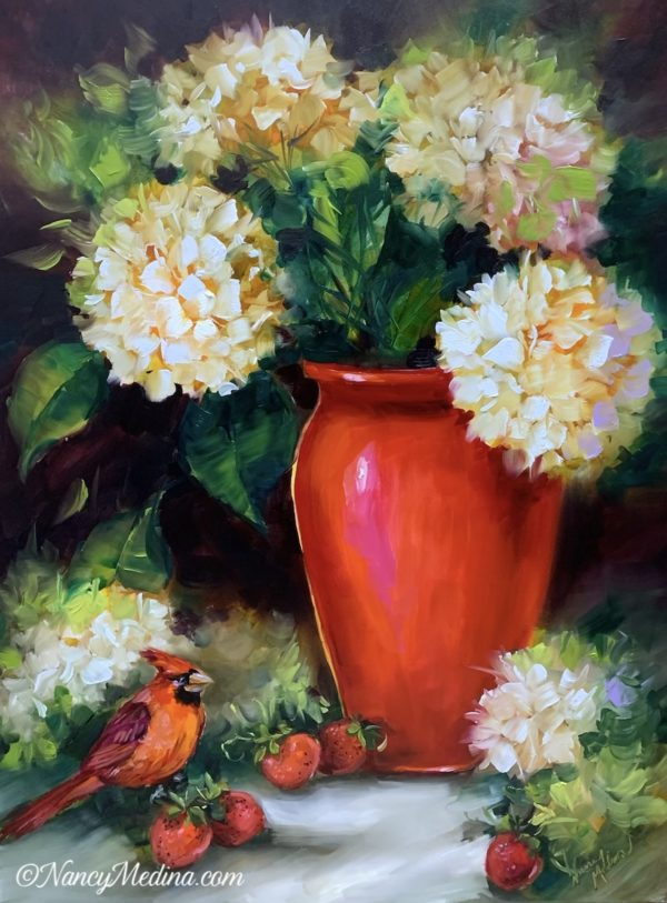 The Visitor - Red Cardinal in Hydrangeas