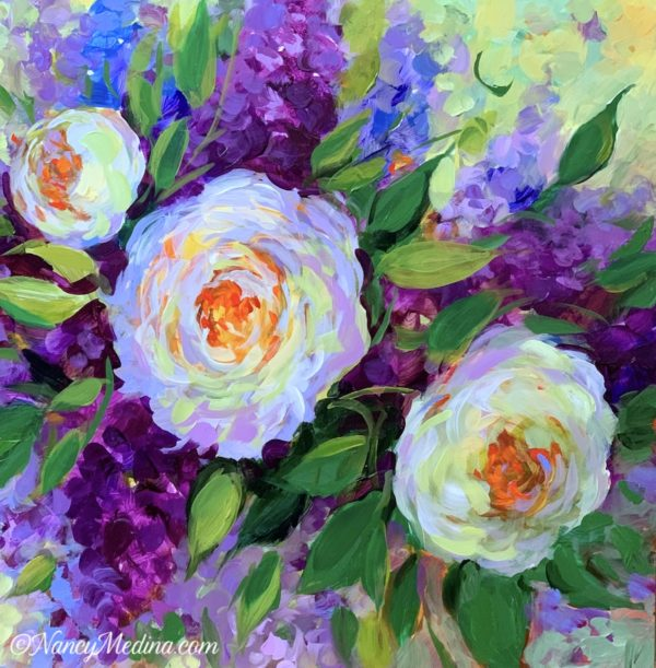 Lilacs and Peonies acrylic